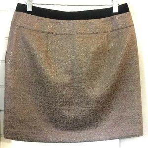 🎁 Ann Taylor LOFT Skirt sz 4 Bronze Metallic I8